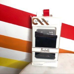 NEW Casemate navy velvet stick on card holder